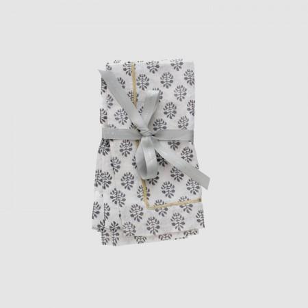 Printed leaf dinner napkin, grey, set of two