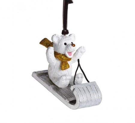 Sledding Teddy Ornament