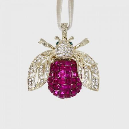 Sparkle bee hanging ornament, fuchsia