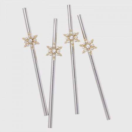Snowflake metal cocktail straws