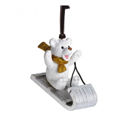 Sledding Teddy Ornament