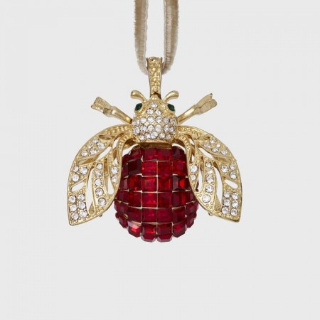 Sparkle Bee Hanging Ornament Ruby