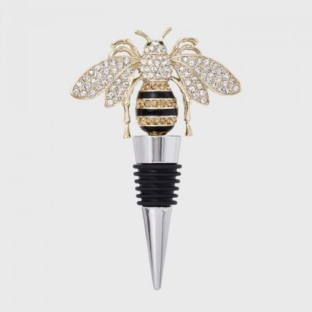 Stripey bee wine stopper